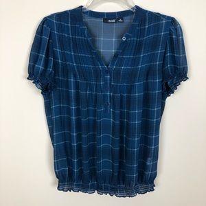 🌼2/$10🌼 SemiSheer Blue Feminine Top Puff Sleeves